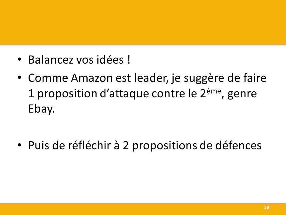 Balancez vos idées ! Comme Amazon est leader, je suggère de faire 1 proposition dattaque contre le 2 ème, genre Ebay. Puis de réfléchir à 2 propositio