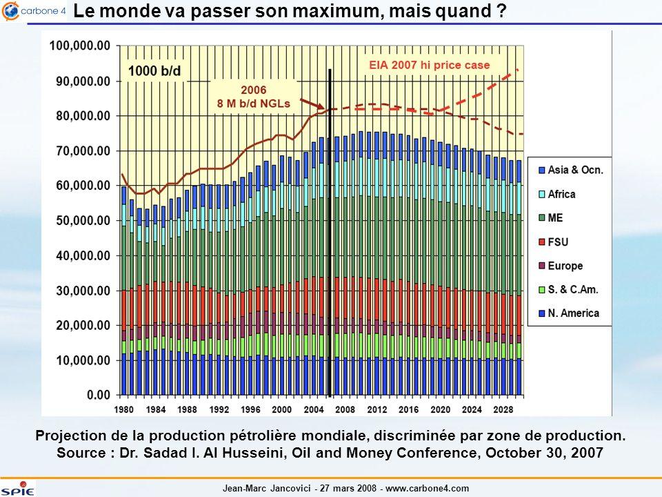 Jean-Marc Jancovici - 27 mars 2008 - www.carbone4.com Le monde va passer son maximum, mais quand .