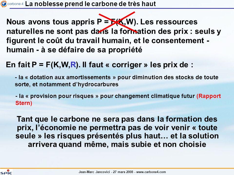 Jean-Marc Jancovici - 27 mars 2008 - www.carbone4.com La noblesse prend le carbone de très haut Nous avons tous appris P = F(K,W).