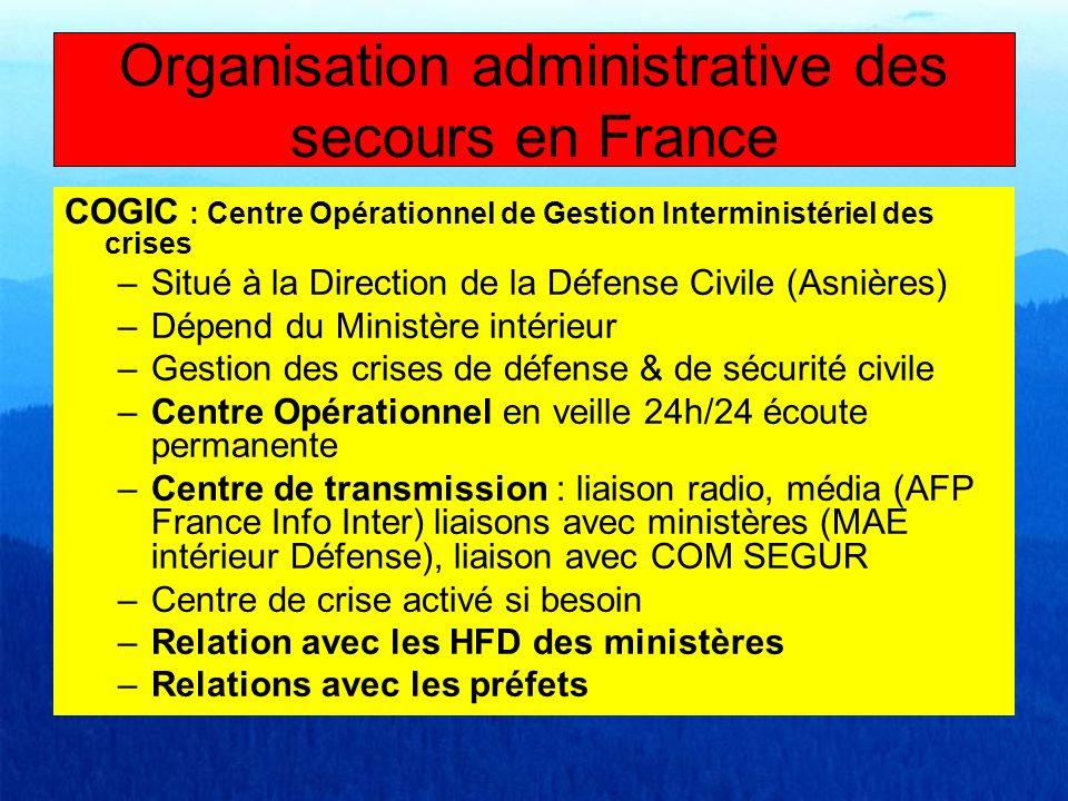 COGIC : Centre Opérationnel de Gestion Interministériel des crises –Situé à la Direction de la Défense Civile (Asnières) –Dépend du Ministère intérieu