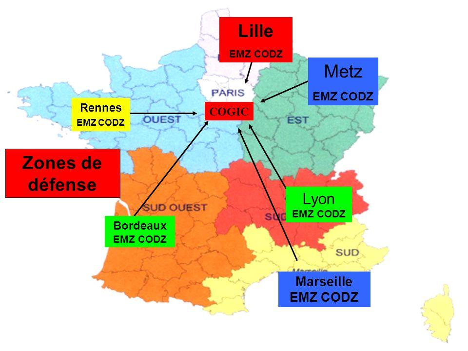 COGIC Zones de défense Rennes EMZ CODZ Bordeaux EMZ CODZ Marseille EMZ CODZ Lille EMZ CODZ Lyon EMZ CODZ Metz EMZ CODZ