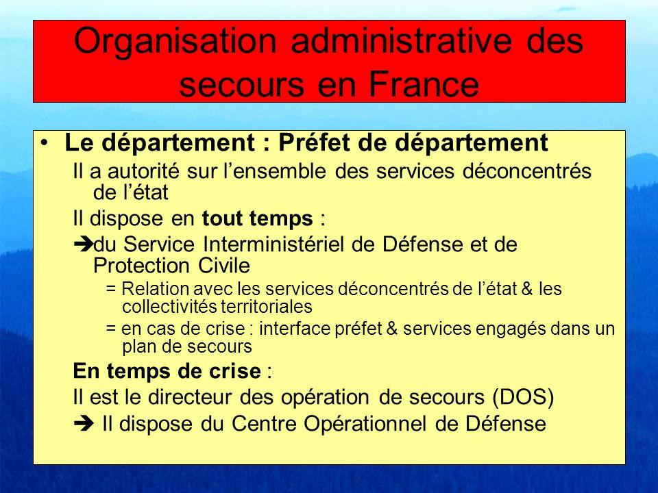 Le département : Préfet de département Il a autorité sur lensemble des services déconcentrés de létat Il dispose en tout temps : du Service Interminis