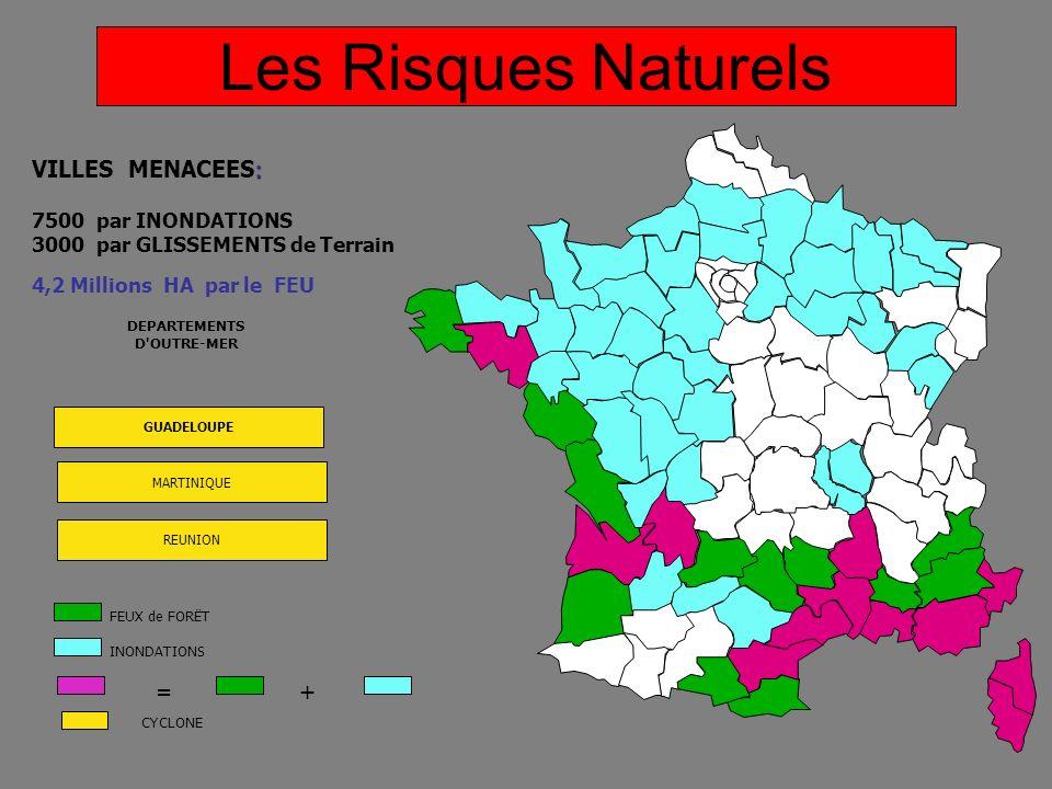 DEPARTEMENTS D'OUTRE-MER GUADELOUPE MARTINIQUE REUNION : VILLES MENACEES: 7500 par INONDATIONS 3000 par GLISSEMENTS de Terrain 4,2 Millions HA par le