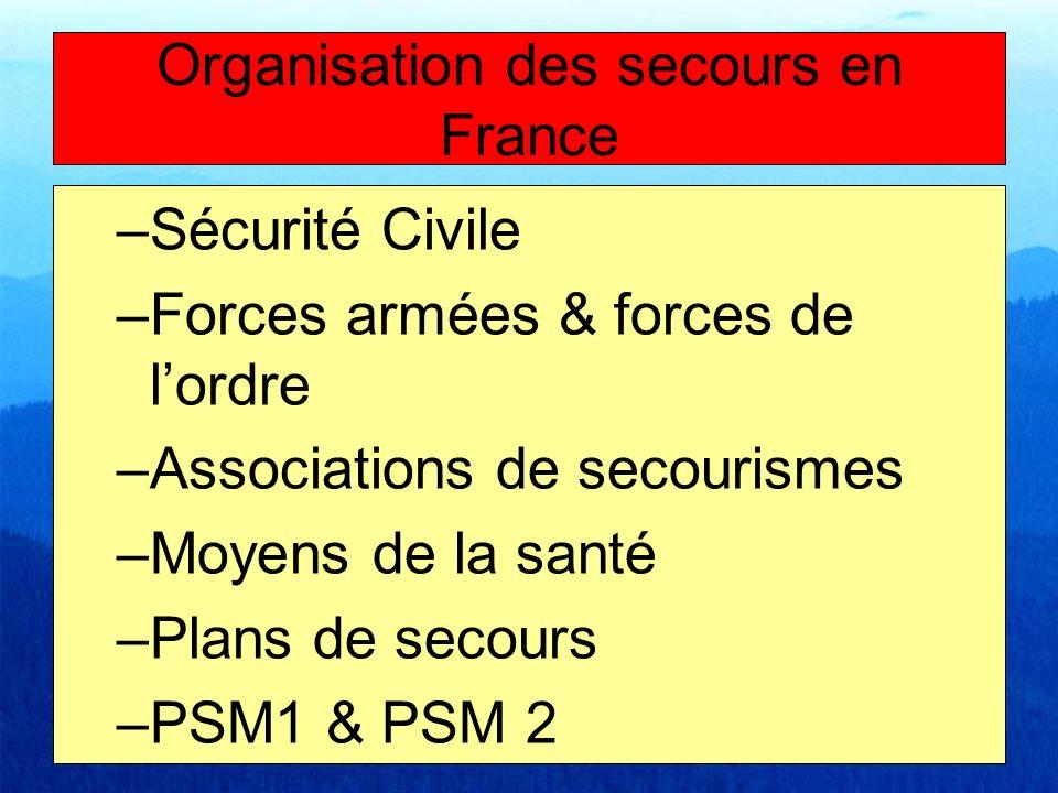 –Sécurité Civile –Forces armées & forces de lordre –Associations de secourismes –Moyens de la santé –Plans de secours –PSM1 & PSM 2 Organisation des s