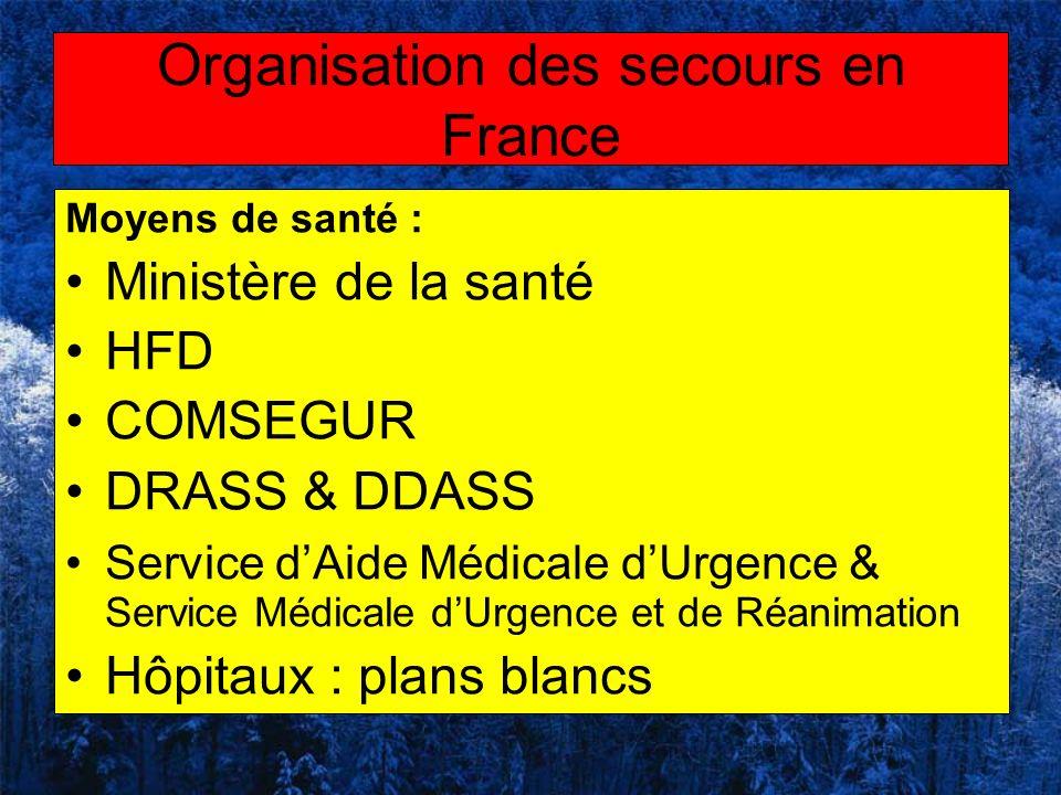 Moyens de santé : Ministère de la santé HFD COMSEGUR DRASS & DDASS Service dAide Médicale dUrgence & Service Médicale dUrgence et de Réanimation Hôpit