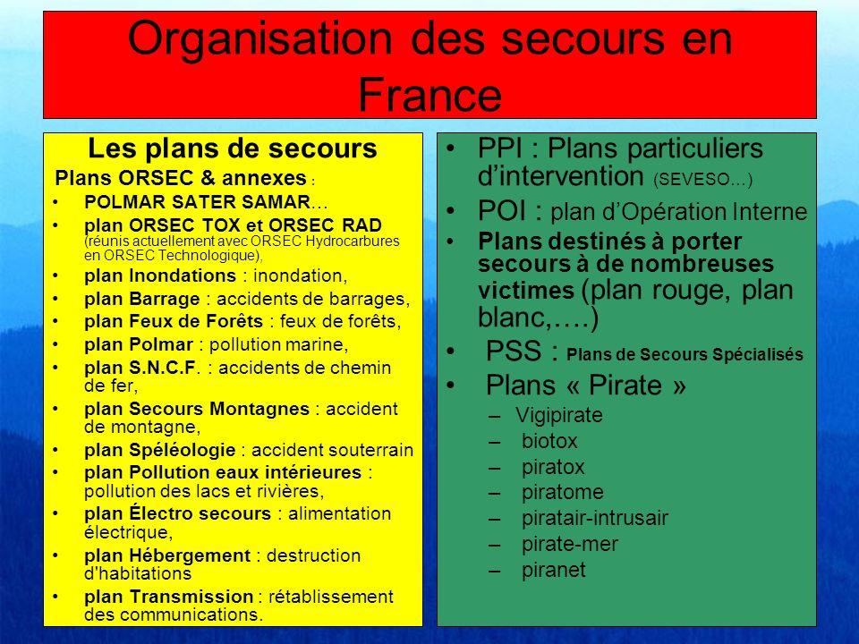 Les plans de secours Plans ORSEC & annexes : POLMAR SATER SAMAR… plan ORSEC TOX et ORSEC RAD (réunis actuellement avec ORSEC Hydrocarbures en ORSEC Te