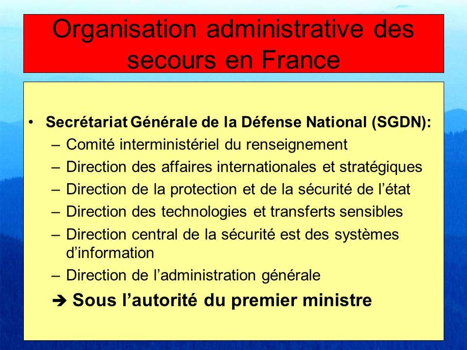 Secrétariat Générale de la Défense National (SGDN): –Comité interministériel du renseignement –Direction des affaires internationales et stratégiques