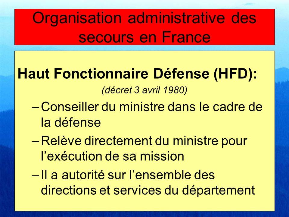 Haut Fonctionnaire Défense (HFD): (décret 3 avril 1980) –Conseiller du ministre dans le cadre de la défense –Relève directement du ministre pour lexéc