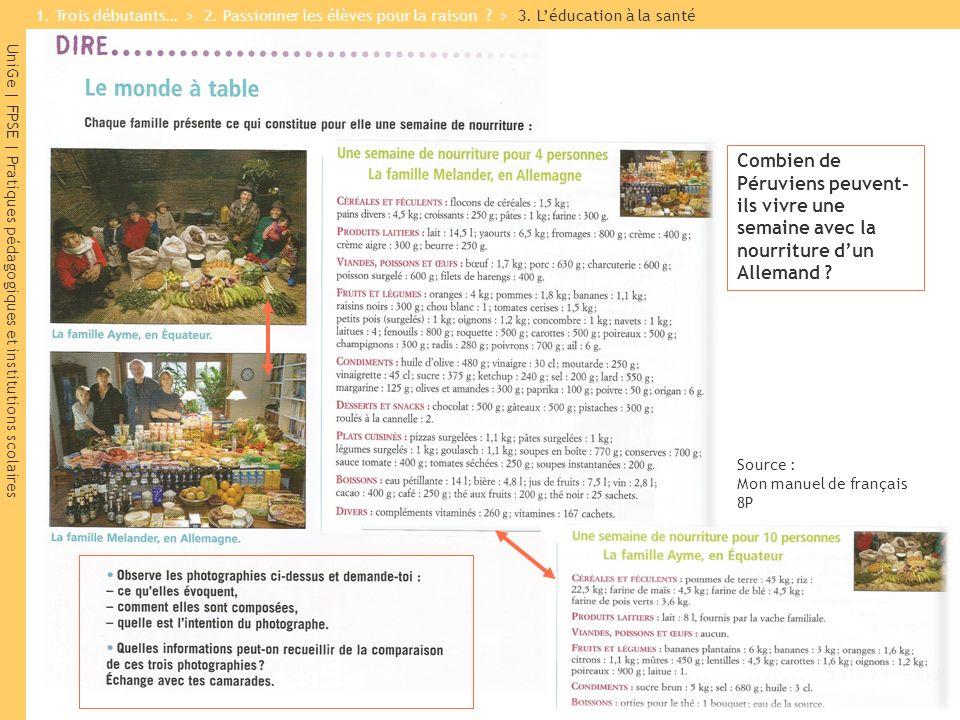 UniGe | FPSE | Pratiques pédagogiques et institutions scolaires Source : Mon manuel de français 8P Combien de Péruviens peuvent- ils vivre une semaine avec la nourriture dun Allemand .