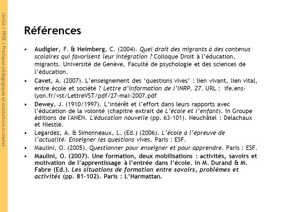 UniGe | FPSE | Pratiques pédagogiques et institutions scolaires Références Audigier, F.