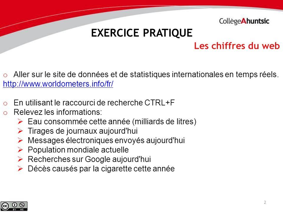 3 Les chiffres du web EXERCICE PRATIQUE o Aller sur le site de données et de statistiques internationales en temps réels.