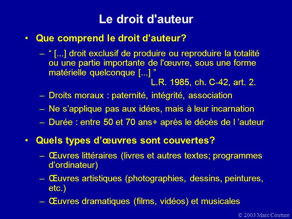 © 2003 Marc Couture Le droit d auteur Que comprend le droit dauteur.