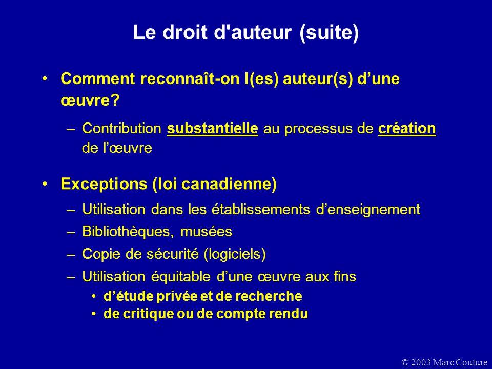 © 2003 Marc Couture Le droit d auteur (suite) Comment reconnaît-on l(es) auteur(s) dune œuvre.