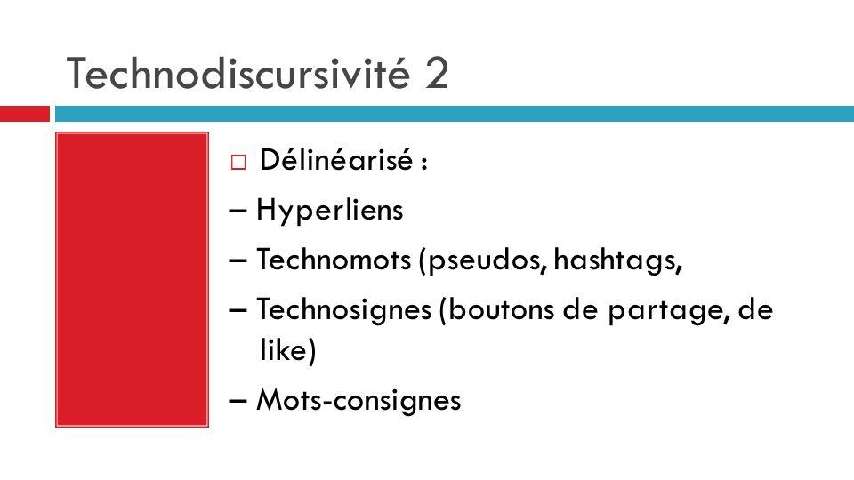 Technodiscursivité 2 Délinéarisé : – Hyperliens – Technomots (pseudos, hashtags, – Technosignes (boutons de partage, de like) – Mots-consignes