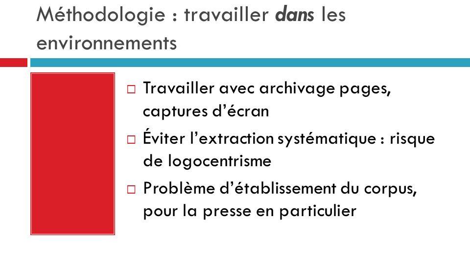 Méthodologie : travailler dans les environnements Travailler avec archivage pages, captures décran Éviter lextraction systématique : risque de logocen