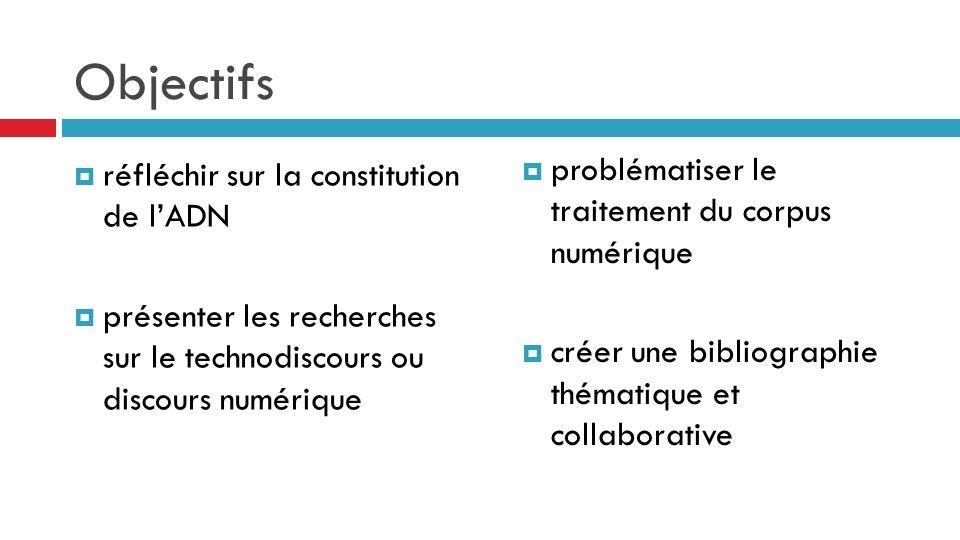Objectifs réfléchir sur la constitution de lADN présenter les recherches sur le technodiscours ou discours numérique problématiser le traitement du corpus numérique créer une bibliographie thématique et collaborative