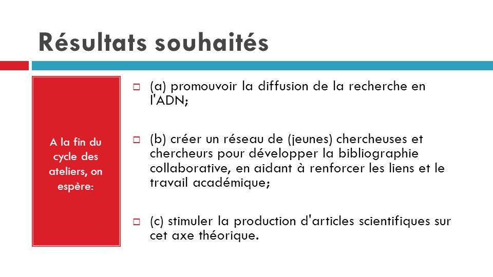 Résultats souhaités A la fin du cycle des ateliers, on espère: (a) promouvoir la diffusion de la recherche en l'ADN; (b) créer un réseau de (jeunes) c