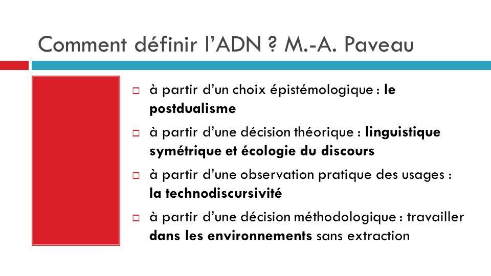 Comment définir lADN ? M.-A. Paveau à partir dun choix épistémologique : le postdualisme à partir dune décision théorique : linguistique symétrique et