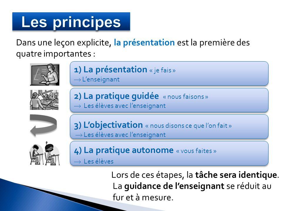 Dans une leçon explicite, la présentation est la première des quatre importantes : 1) La présentation « je fais » Lenseignant 1) La présentation « je