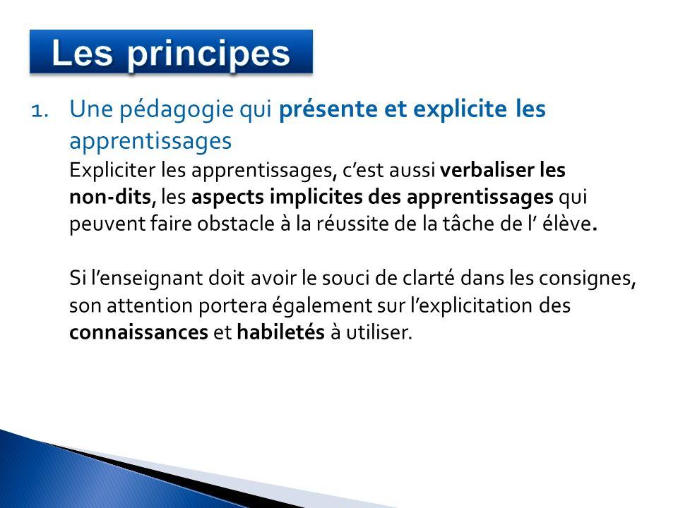 1.Une pédagogie qui présente et explicite les apprentissages Expliciter les apprentissages, cest aussi verbaliser les non-dits, les aspects implicites