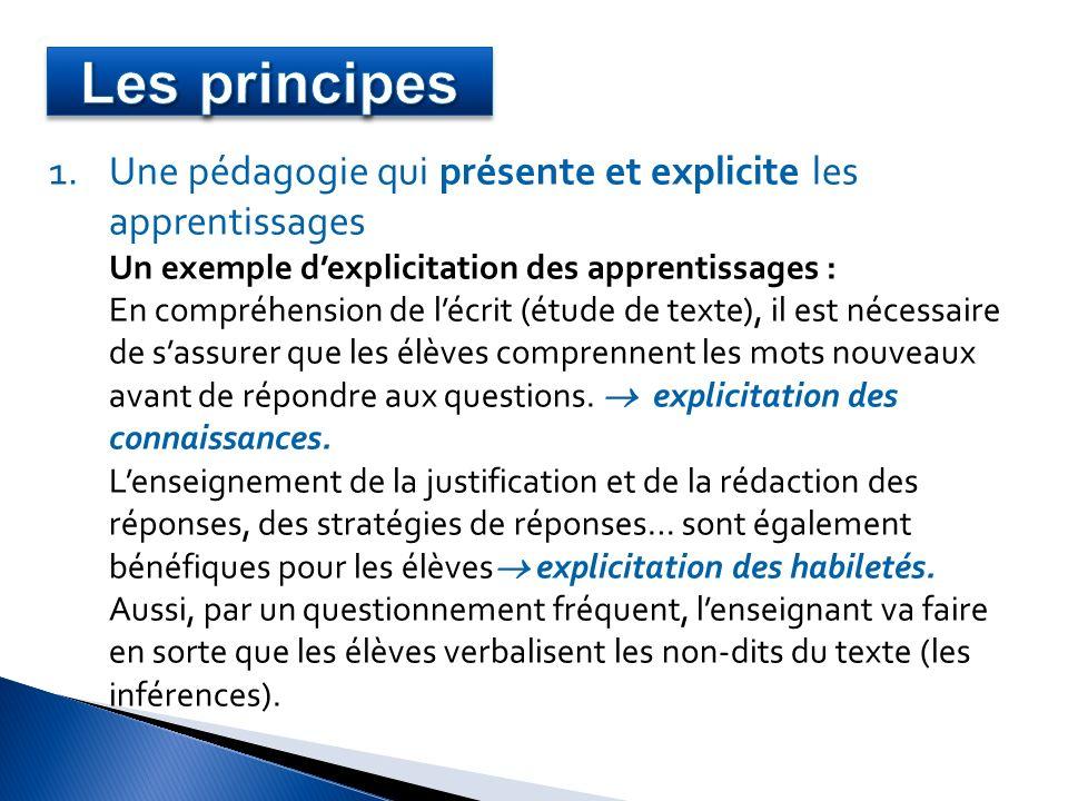 1.Une pédagogie qui présente et explicite les apprentissages Un exemple dexplicitation des apprentissages : En compréhension de lécrit (étude de texte