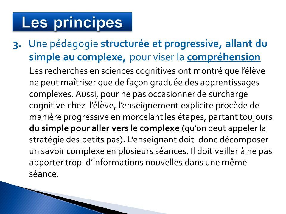 3. Une pédagogie structurée et progressive, allant du simple au complexe, pour viser la compréhension Les recherches en sciences cognitives ont montré
