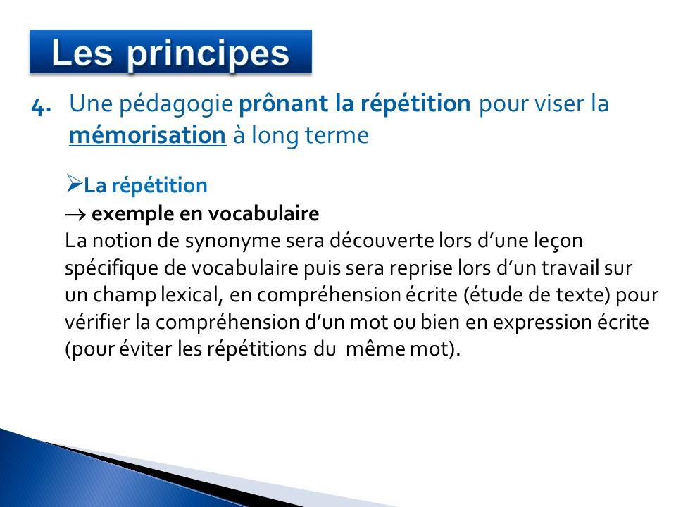 4. Une pédagogie prônant la répétition pour viser la mémorisation à long terme La répétition exemple en vocabulaire La notion de synonyme sera découve