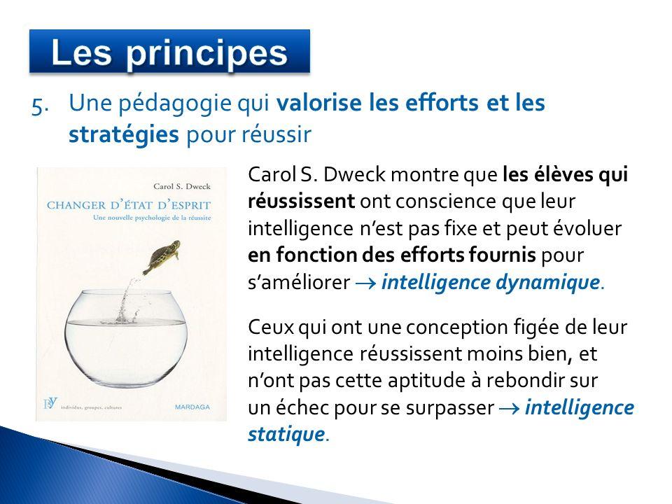 5.Une pédagogie qui valorise les efforts et les stratégies pour réussir Carol S. Dweck montre que les élèves qui réussissent ont conscience que leur i