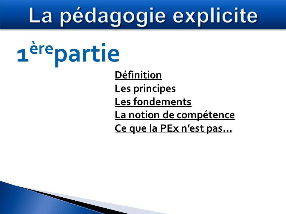 Définition Les principes Les fondements La notion de compétence Ce que la PEx nest pas… 1 ère partie