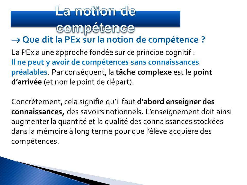 La PEx a une approche fondée sur ce principe cognitif : Il ne peut y avoir de compétences sans connaissances préalables. Par conséquent, la tâche comp