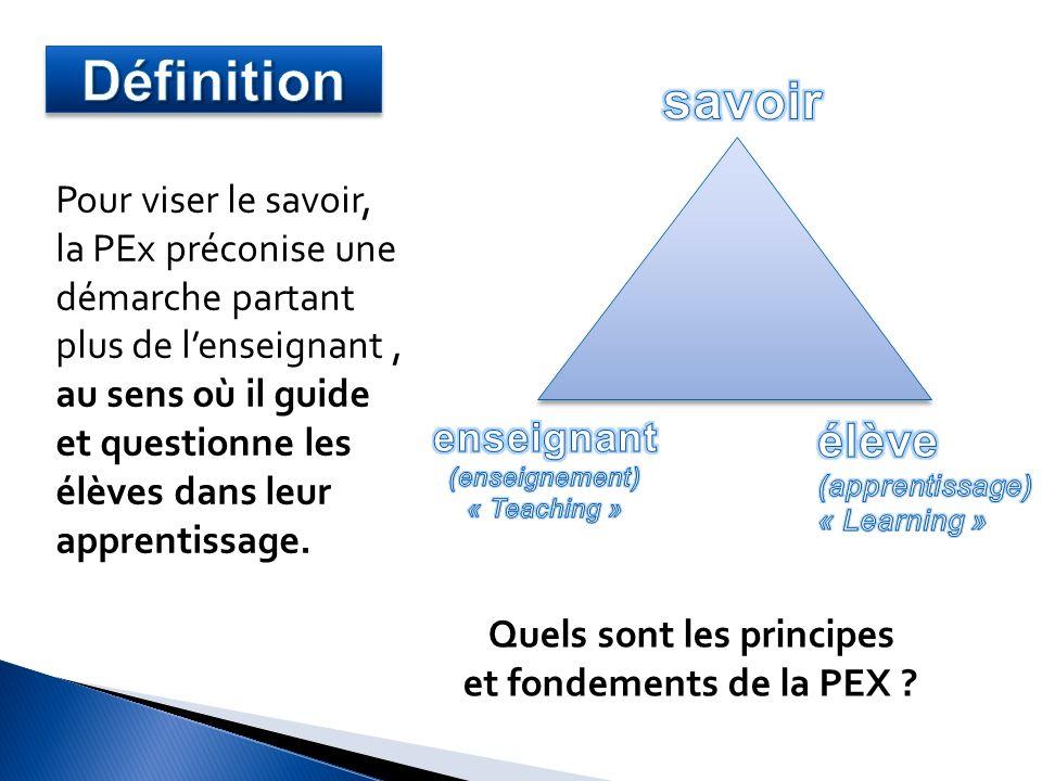 Quels sont les principes et fondements de la PEX ? Pour viser le savoir, la PEx préconise une démarche partant plus de lenseignant, au sens où il guid