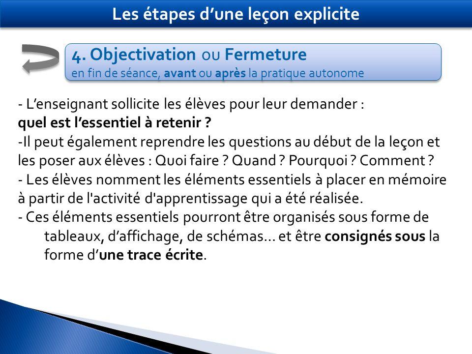 4. Objectivation ou Fermeture en fin de séance, avant ou après la pratique autonome 4. Objectivation ou Fermeture en fin de séance, avant ou après la