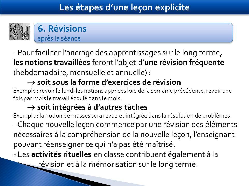 6. Révisions après la séance 6. Révisions après la séance Les étapes dune leçon explicite - Pour faciliter lancrage des apprentissages sur le long ter