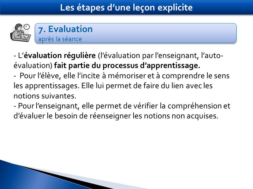 7. Evaluation après la séance 7. Evaluation après la séance Les étapes dune leçon explicite - Lévaluation régulière (lévaluation par lenseignant, laut