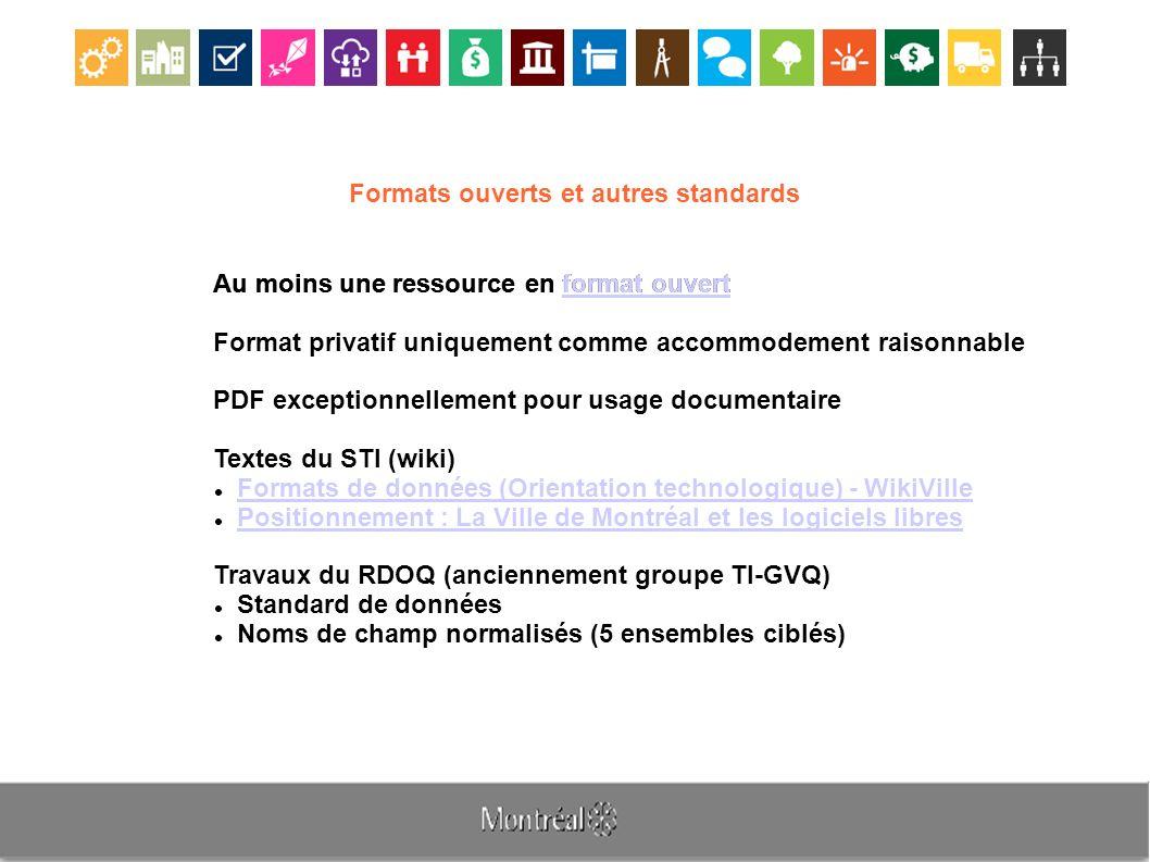 Formats ouverts et autres standards Au moins une ressource en format ouvert format ouvert Format privatif uniquement comme accommodement raisonnable PDF exceptionnellement pour usage documentaire Textes du STI (wiki) Formats de données (Orientation technologique) - WikiVille Positionnement : La Ville de Montréal et les logiciels libres Travaux du RDOQ (anciennement groupe TI-GVQ) Standard de données Noms de champ normalisés (5 ensembles ciblés)