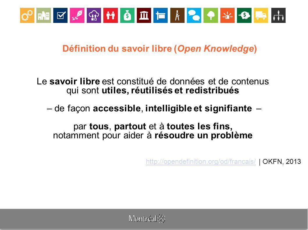 Définition du savoir libre (Open Knowledge) Le savoir libre est constitué de données et de contenus qui sont utiles, réutilisés et redistribués – de façon accessible, intelligible et signifiante – par tous, partout et à toutes les fins, notamment pour aider à résoudre un problème http://opendefinition.org/od/francais/http://opendefinition.org/od/francais/ | OKFN, 2013