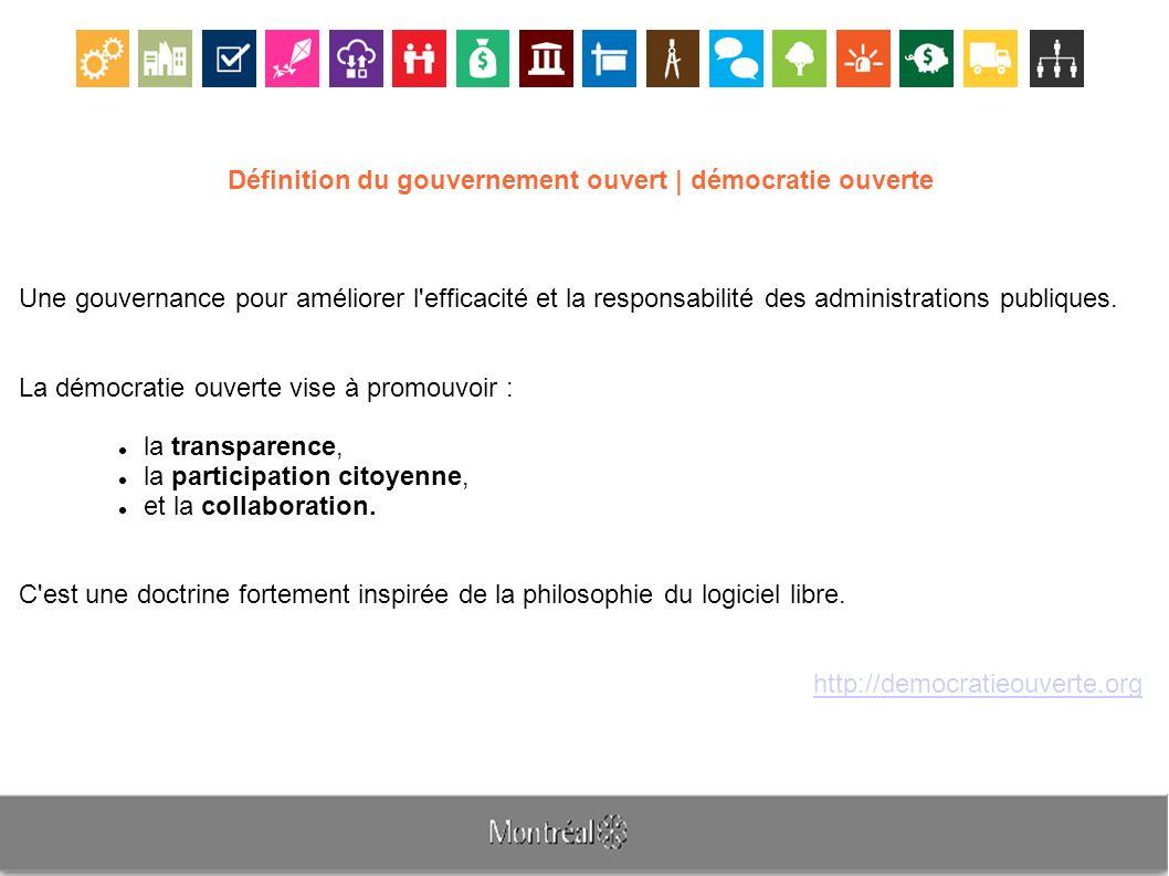 Définition du gouvernement ouvert | démocratie ouverte Une gouvernance pour améliorer l efficacité et la responsabilité des administrations publiques.