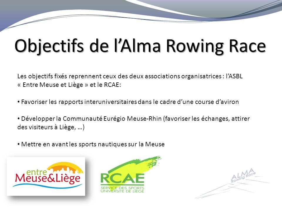 Les équipes engagées Les équipes engagées pour lAlma Rowing Race 2012 proviennent de : Université de Liège (20.000 étudiants) Maastricht University (12.000 étudiants) Universiteit Hasselt (5.000 étudiants) R-W Technische Hochschule Aachen (35.000 étudiants) Soit une communauté universitaire eurégionale de plus de 72.000 étudiants !