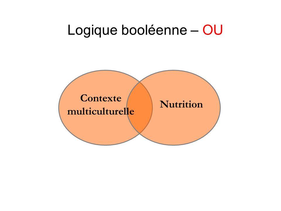 Logique booléenne – OU Contexte multiculturelle Nutrition
