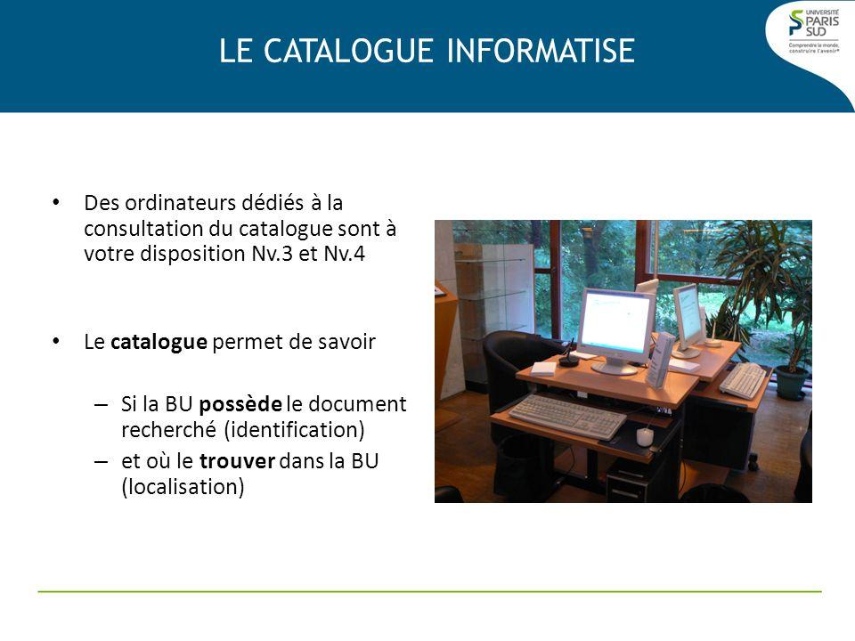 Des ordinateurs dédiés à la consultation du catalogue sont à votre disposition Nv.3 et Nv.4 Le catalogue permet de savoir – Si la BU possède le docume