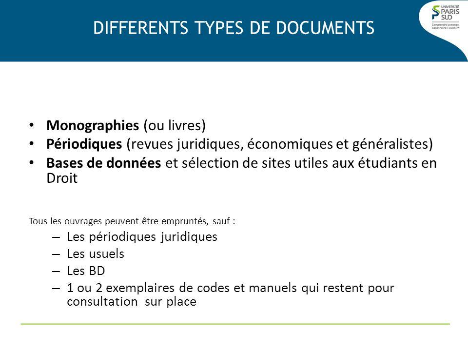 Monographies (ou livres) Périodiques (revues juridiques, économiques et généralistes) Bases de données et sélection de sites utiles aux étudiants en D