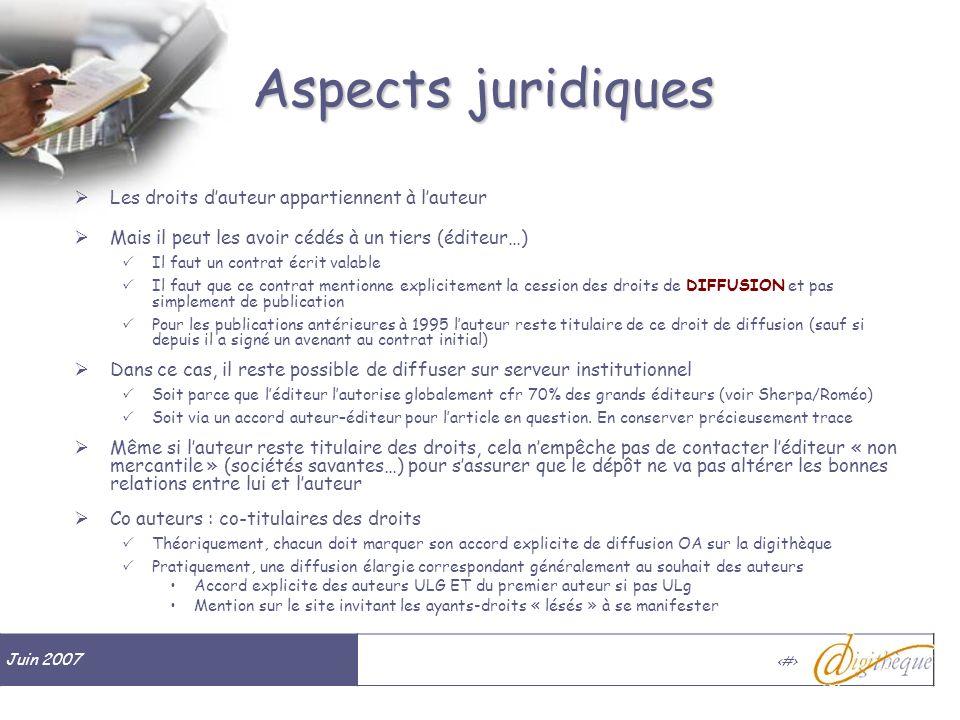 Juin 2007 # Aspects juridiques Les droits dauteur appartiennent à lauteur Mais il peut les avoir cédés à un tiers (éditeur…) Il faut un contrat écrit