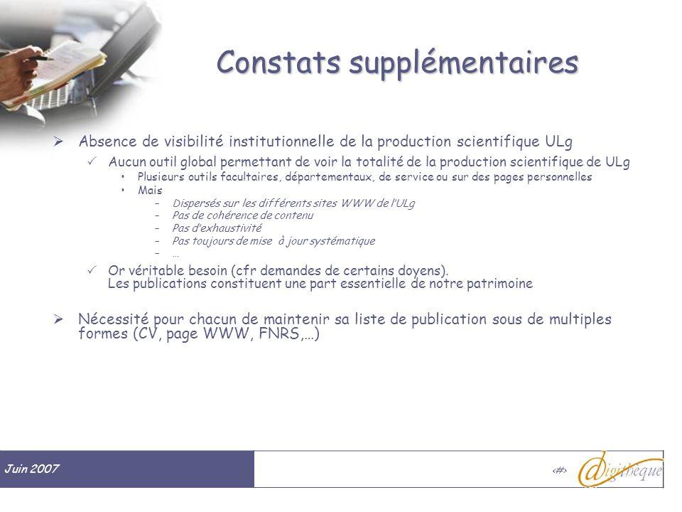 Juin 2007 # Constats supplémentaires Absence de visibilité institutionnelle de la production scientifique ULg Aucun outil global permettant de voir la