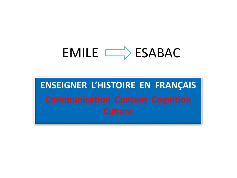 EMILE ESABAC ENSEIGNER LHISTOIRE EN FRANÇAIS Communication Content Cognition Culture ENSEIGNER LHISTOIRE EN FRANÇAIS Communication Content Cognition C