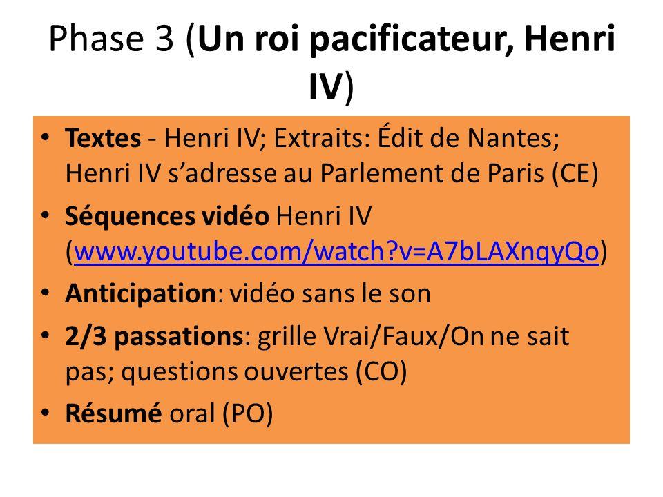 Phase 3 (Un roi pacificateur, Henri IV) Textes - Henri IV; Extraits: Édit de Nantes; Henri IV sadresse au Parlement de Paris (CE) Séquences vidéo Henr