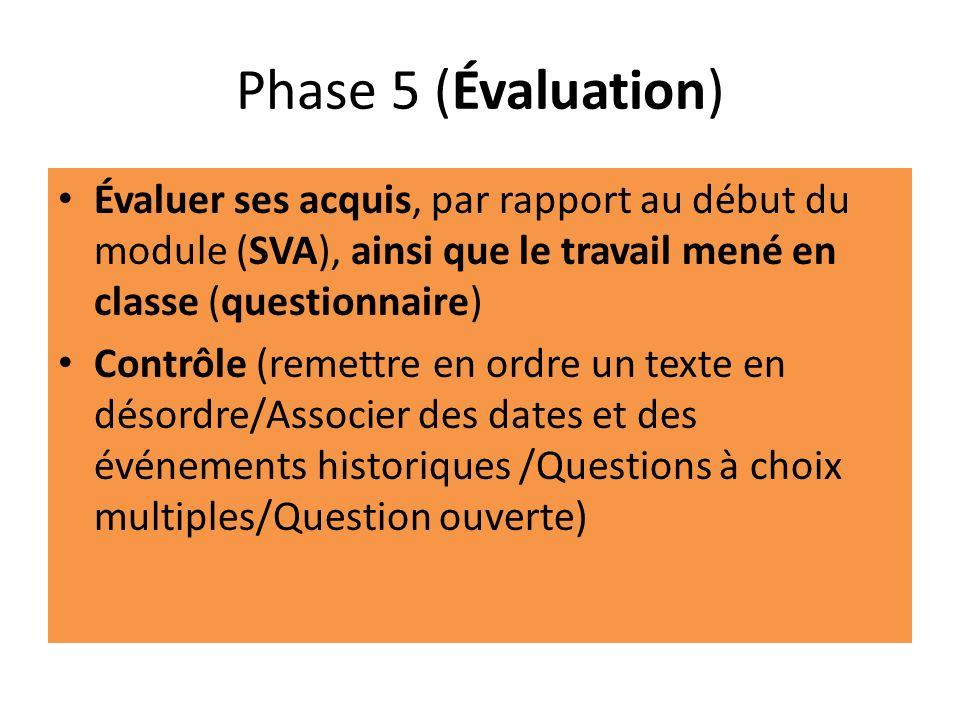 Phase 5 (Évaluation) Évaluer ses acquis, par rapport au début du module (SVA), ainsi que le travail mené en classe (questionnaire) Contrôle (remettre