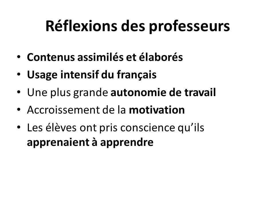 Réflexions des professeurs Contenus assimilés et élaborés Usage intensif du français Une plus grande autonomie de travail Accroissement de la motivati