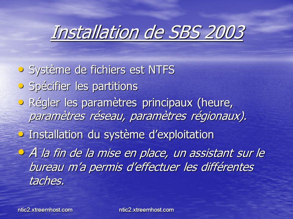 ntic2.xtreemhost.com Installation de SBS 2003 Système de fichiers est NTFS Système de fichiers est NTFS Spécifier les partitions Spécifier les partitions Régler les paramètres principaux (heure, paramètres réseau, paramètres régionaux).