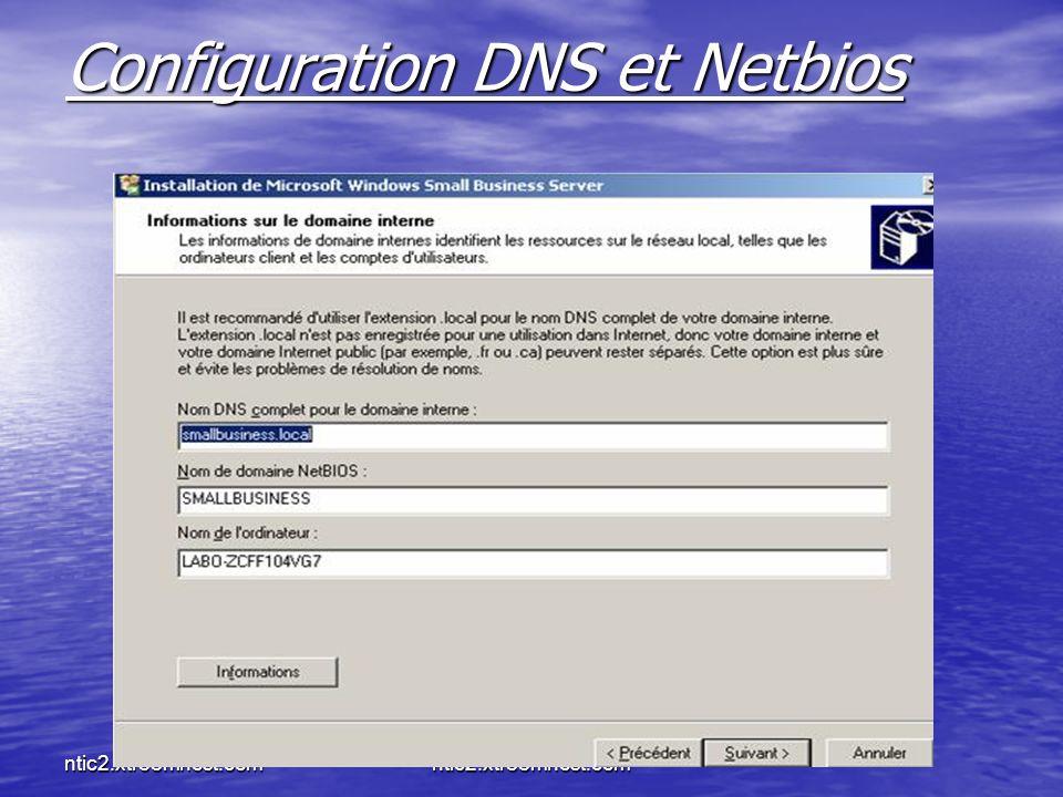ntic2.xtreemhost.com Configuration DNS et Netbios