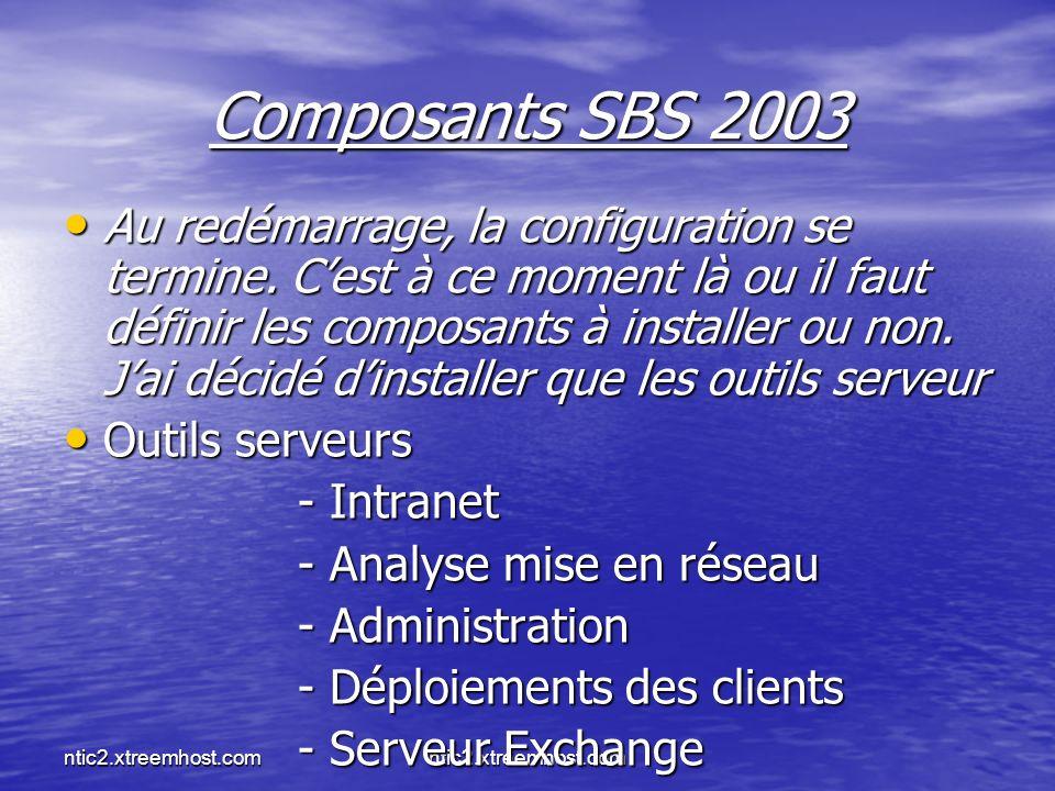 ntic2.xtreemhost.com Composants SBS 2003 Au redémarrage, la configuration se termine. Cest à ce moment là ou il faut définir les composants à installe